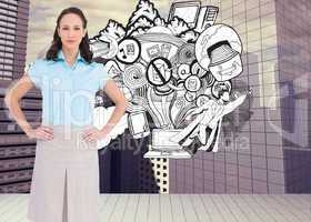 Composite image of serious stylish businesswoman posing