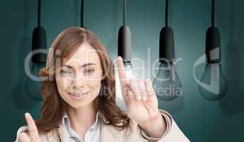 Composite image of classy businesswoman touching invisible scree