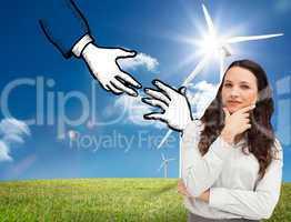 Composite image of portrait of a businesswoman posing