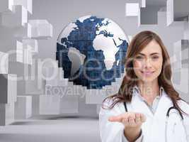 Composite image of portrait of female nurse holding out open pal