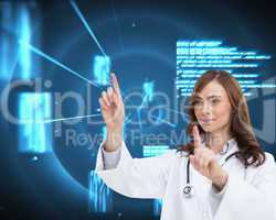 Composite image of happy doctor pointing