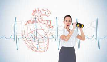 Composite image of astonished elegant businesswoman holding bino