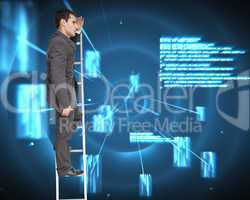Composite image of stern businessman standing on ladder