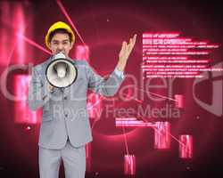 Composite image of architect with hard hat shouting with a megap