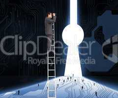 Composite image of businessman standing on ladder using binocula