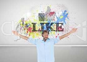 Composite image of handsome man raising hands