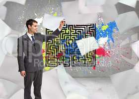 Composite image of happy businessman touching