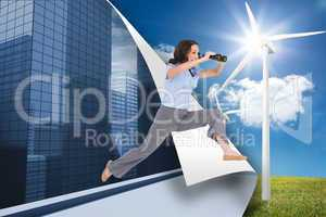 Composite image of cheerful classy businesswoman jumping while h