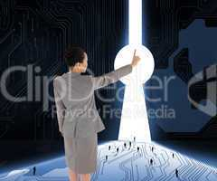 Composite image of asian businesswoman pointing