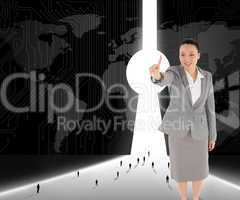 Composite image of smiling asian businesswoman pointing