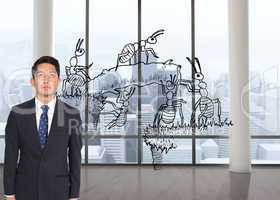 Composite image of stern businessman looking up