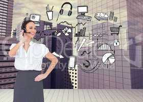Composite image of cheerful smart call center agent working