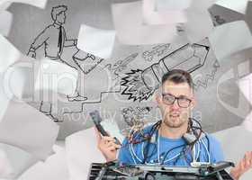 Composite image of confused it professional with cables and phon