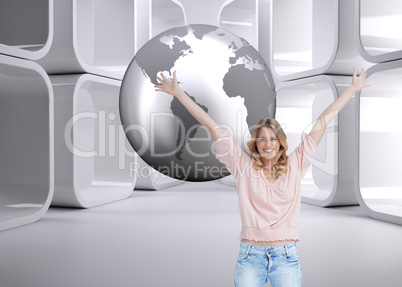 Composite image of full length shot of a smiling woman with her