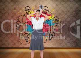 Composite image of worried stylish businesswoman holding newspap