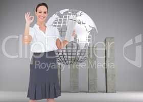 Composite image of stylish businesswoman making gesture while ho