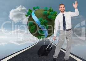 Composite image of handsome businessman with suitcase waving