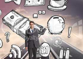 Composite image of happy businessman presenting