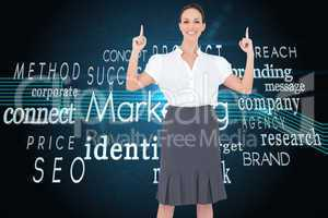 Composite image of smiling gorgeous businesswoman posing