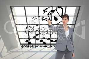 Composite image of young businesswoman pointing to something