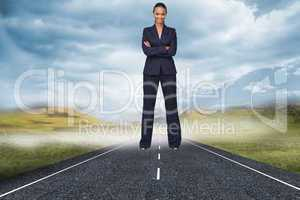 Composite image of isolated confident businesswoman smiling at t