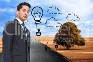 Composite image of hot balloon graphic on scenery with street