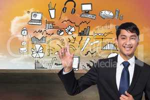 Composite image of smiling businessman touching