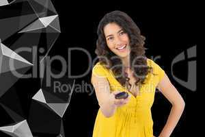 Composite image of smiling curly haired pretty woman changing ch