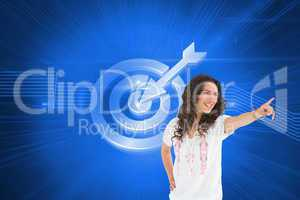 Composite image of cheerful attractive brunette wearing casual c