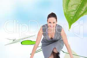 Composite image of smiling gorgeous woman getting ready for depa