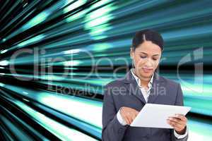 Composite image of close up of saleswoman with her touch screen