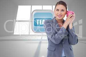 Composite image of smiling bank clerk shaking piggy bank