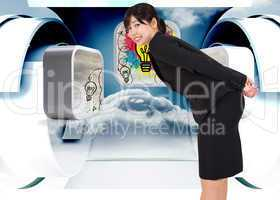 Composite image of smiling businesswoman bending
