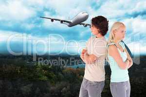 Composite image of unhappy couple posing