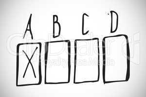 Composite image of multiple choice doodle