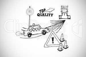 Composite image of retail doodles