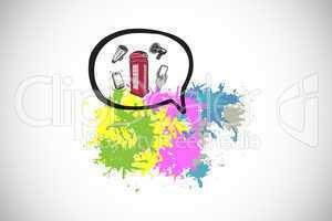 Composite image of communication technology on paint splashes
