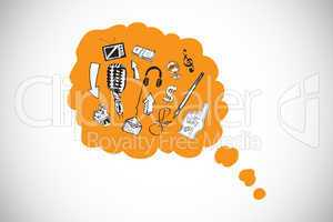 Composite image of doodles in orange thought bubble