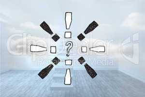 Composite image of question mark doodle with exclamation marks