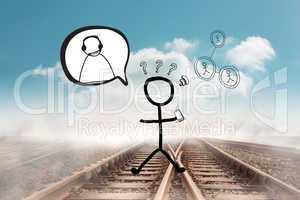 Composite image of stick figure doodle