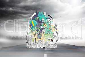 Composite image of data brainstorm on paint splashes