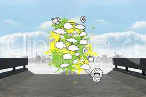 Composite image of cloud computing concept on paint splashes