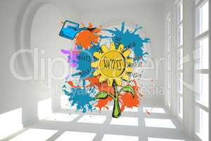 Composite image of success concept on paint splashes