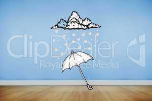 Composite image of umbrella doodle
