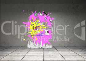 Composite image of brainstorm on paint splashes