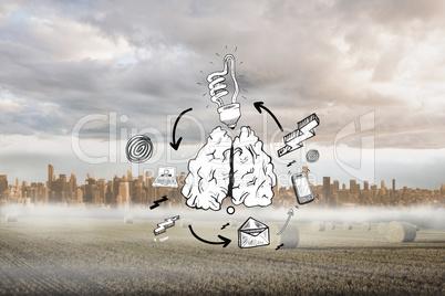 Composite image of idea flowchart doodle