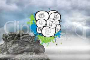 Composite image of apps in speech bubbles on paint splashes