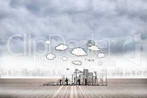 Composite image of cityscape doodle