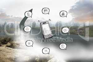 Composite image of smartphone applications doodle