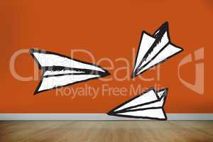 Composite image of paper airplanes doodle